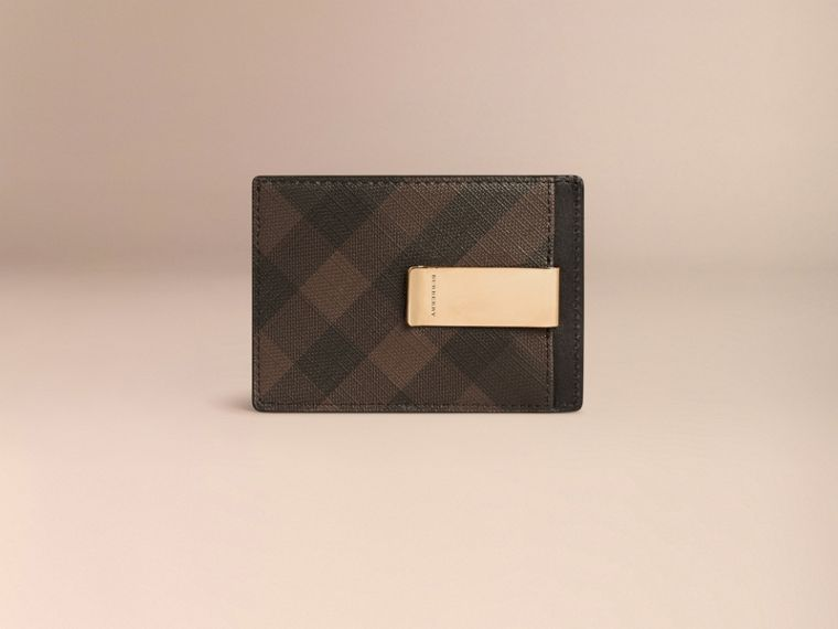 London Check Money Clip Card Case in Chocolate/black - Men | Burberry - cell image 1