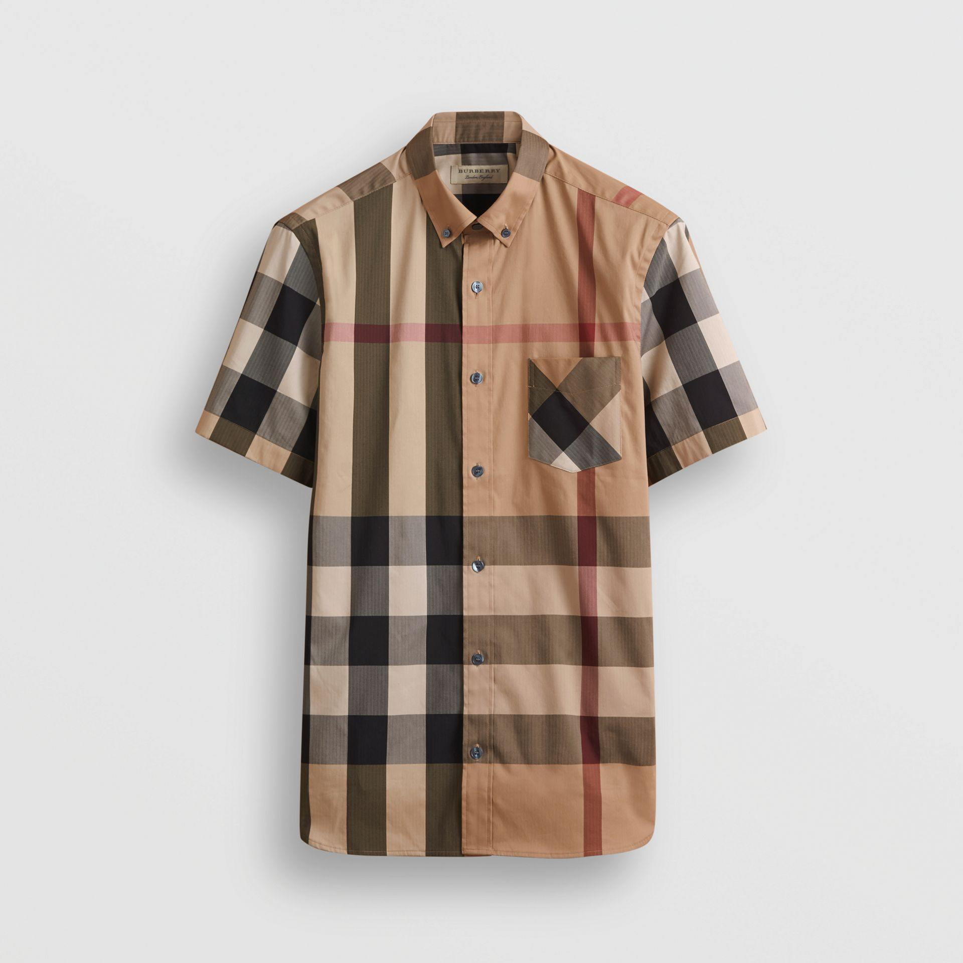 Short-sleeve Check Stretch Cotton Blend Shirt in Camel - Men | Burberry - gallery image 3