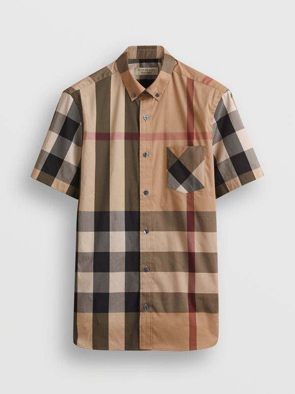 Short-sleeve Check Stretch Cotton Blend Shirt in Camel - Men | Burberry - cell image 3