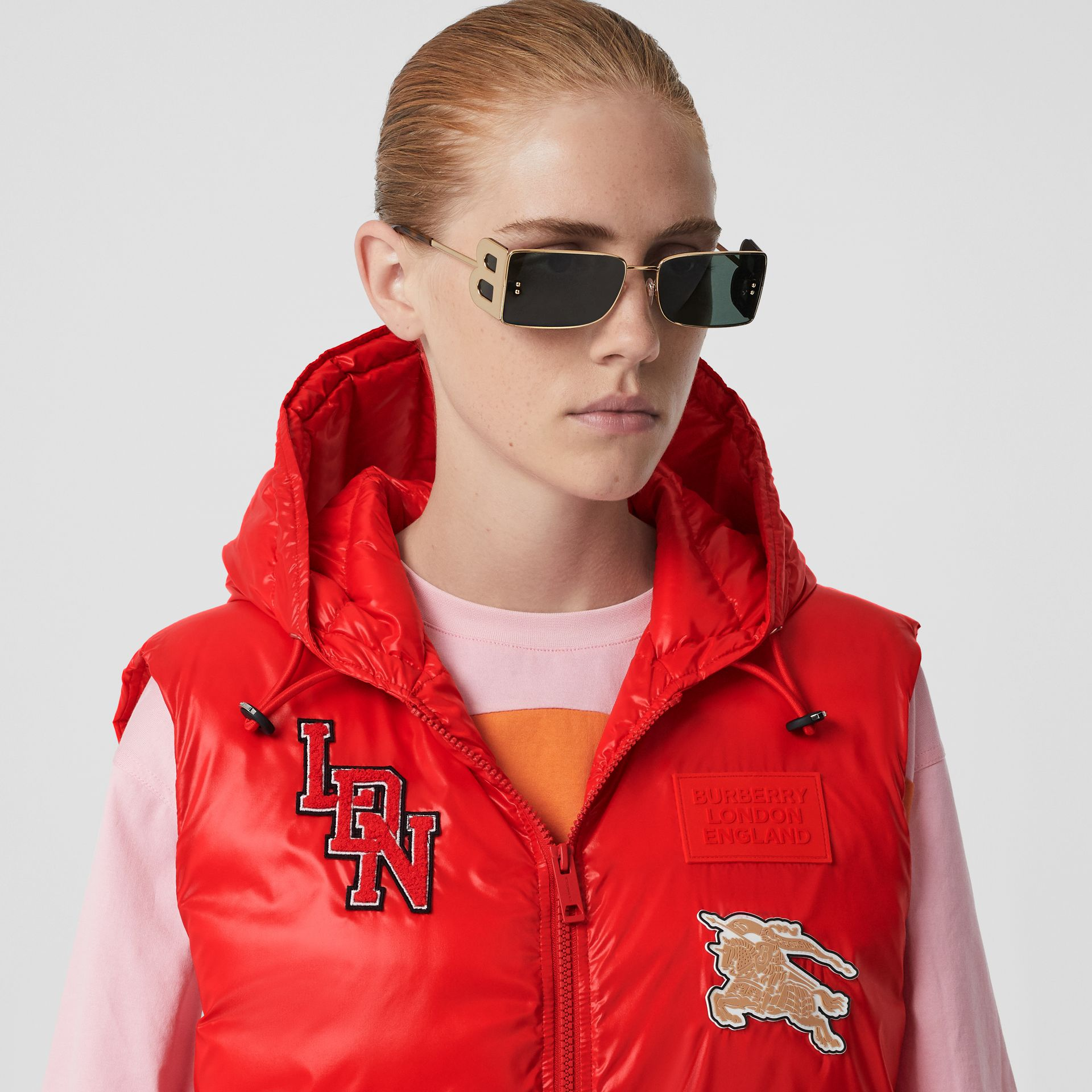 Logo Graphic Puffer Gilet in Bright Red - Women | Burberry - gallery image 1