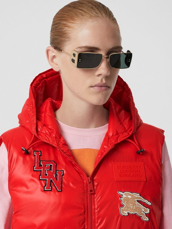 Logo Graphic Puffer Gilet in Bright Red - Women | Burberry - cell image 1
