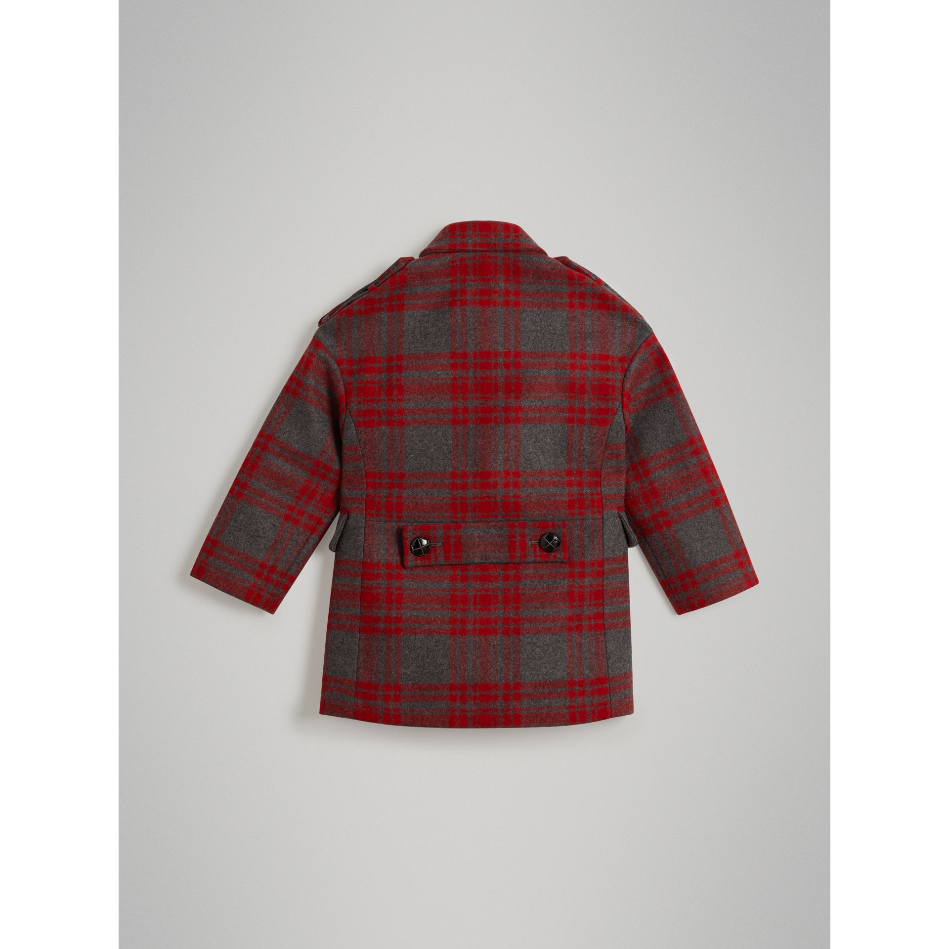 Tartan Wool Tailored Coat in Military Red | Burberry - gallery image 3