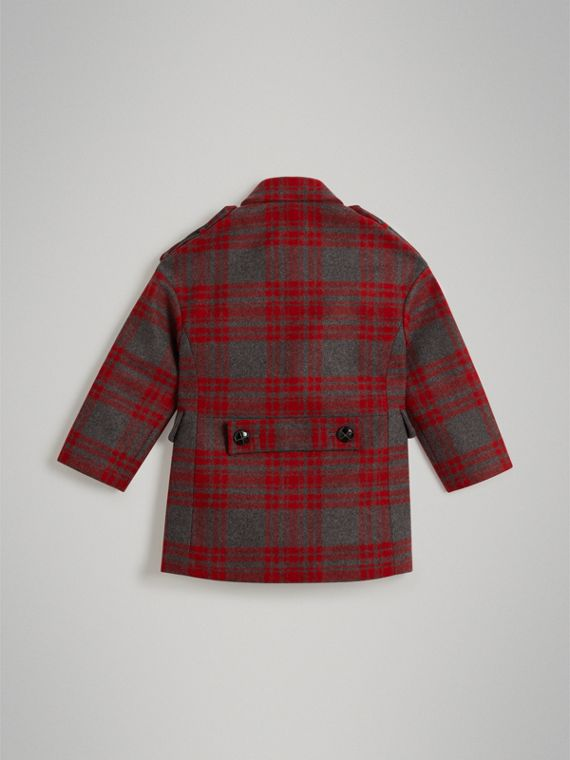 Tartan Wool Tailored Coat in Military Red - Girl | Burberry - cell image 3