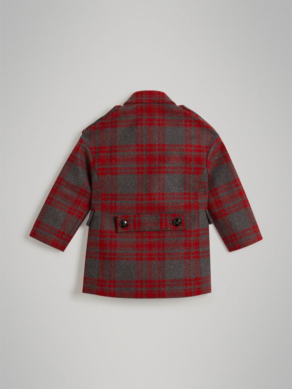 Tartan Wool Tailored Coat in Military Red | Burberry - cell image 3
