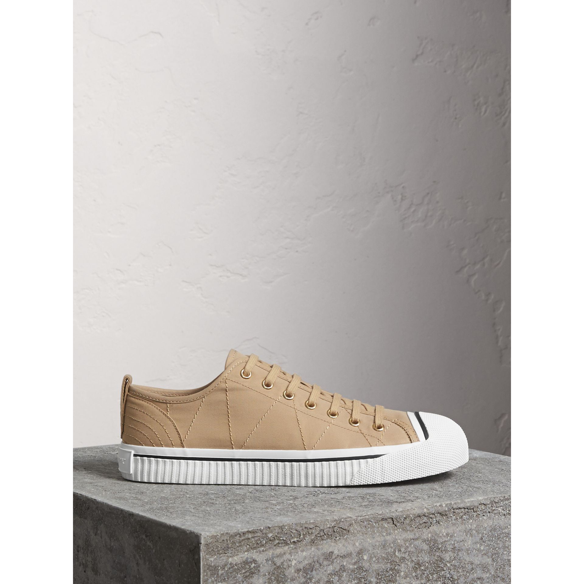 Topstitched Cotton Gabardine Trainers in Honey - Men | Burberry - gallery image 0