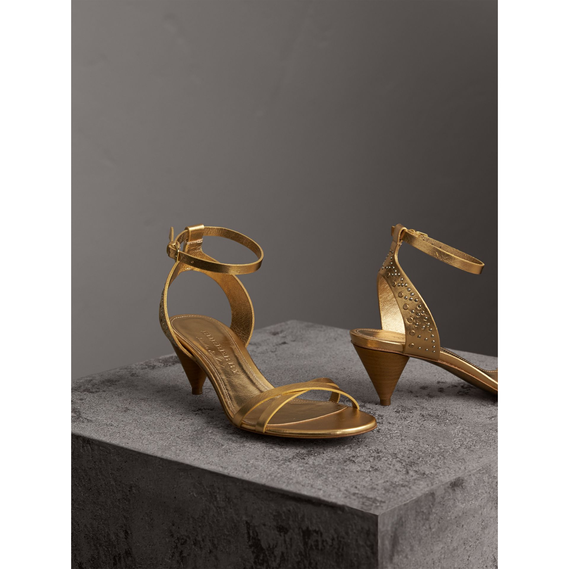 Riveted Metallic Leather Cone-heel Sandals in Gold - Women | Burberry Australia - gallery image 4