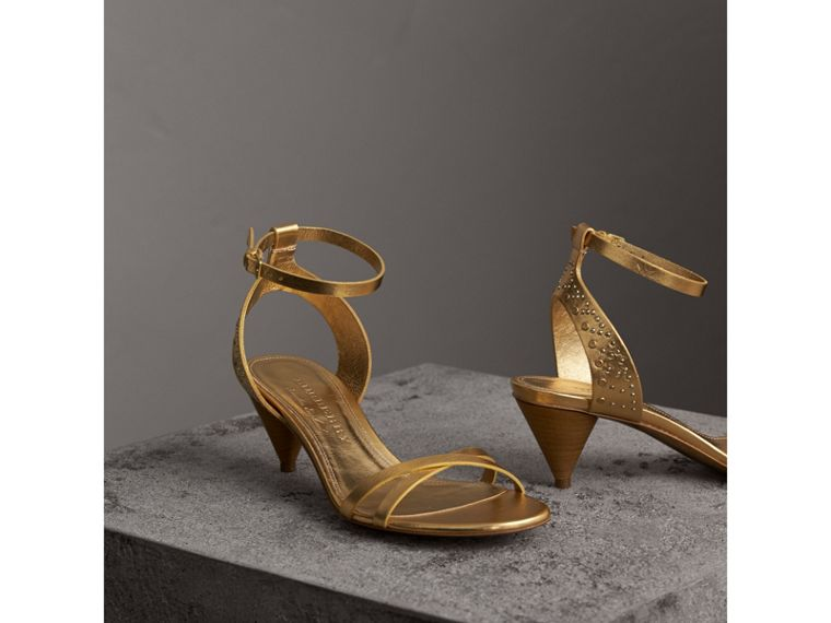 Riveted Metallic Leather Cone-heel Sandals in Gold - Women | Burberry - cell image 4