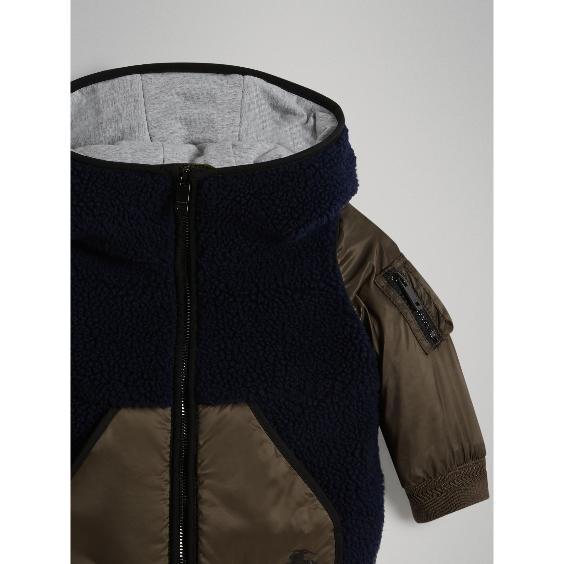 Faux Shearling Panelled Hooded Jacket in Navy - Children | Burberry Canada - gallery image 4