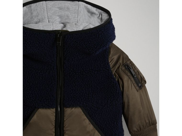 Faux Shearling Panelled Hooded Jacket in Navy | Burberry - cell image 4