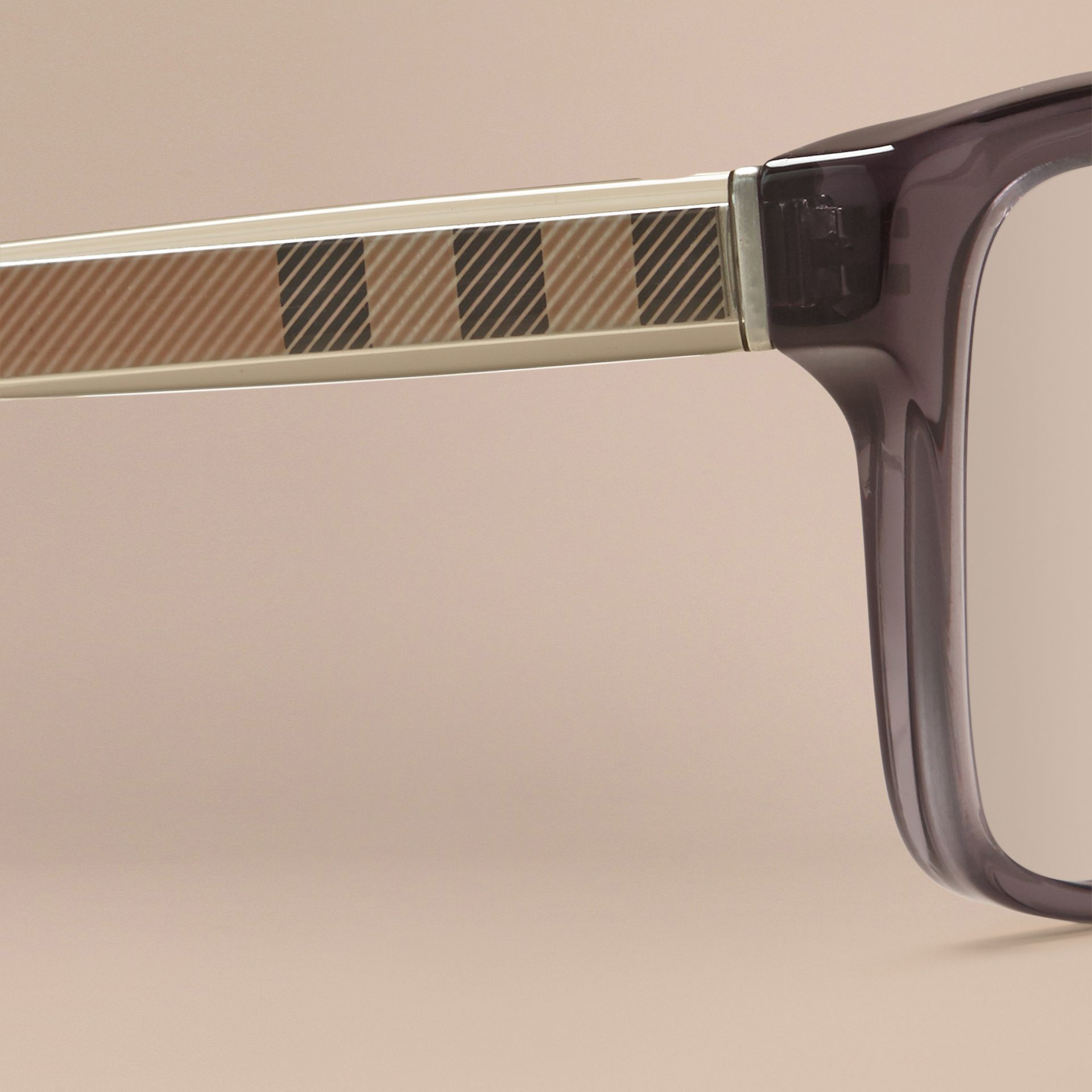Check Detail Rectangular Optical Frames Dark Grey - gallery image 2