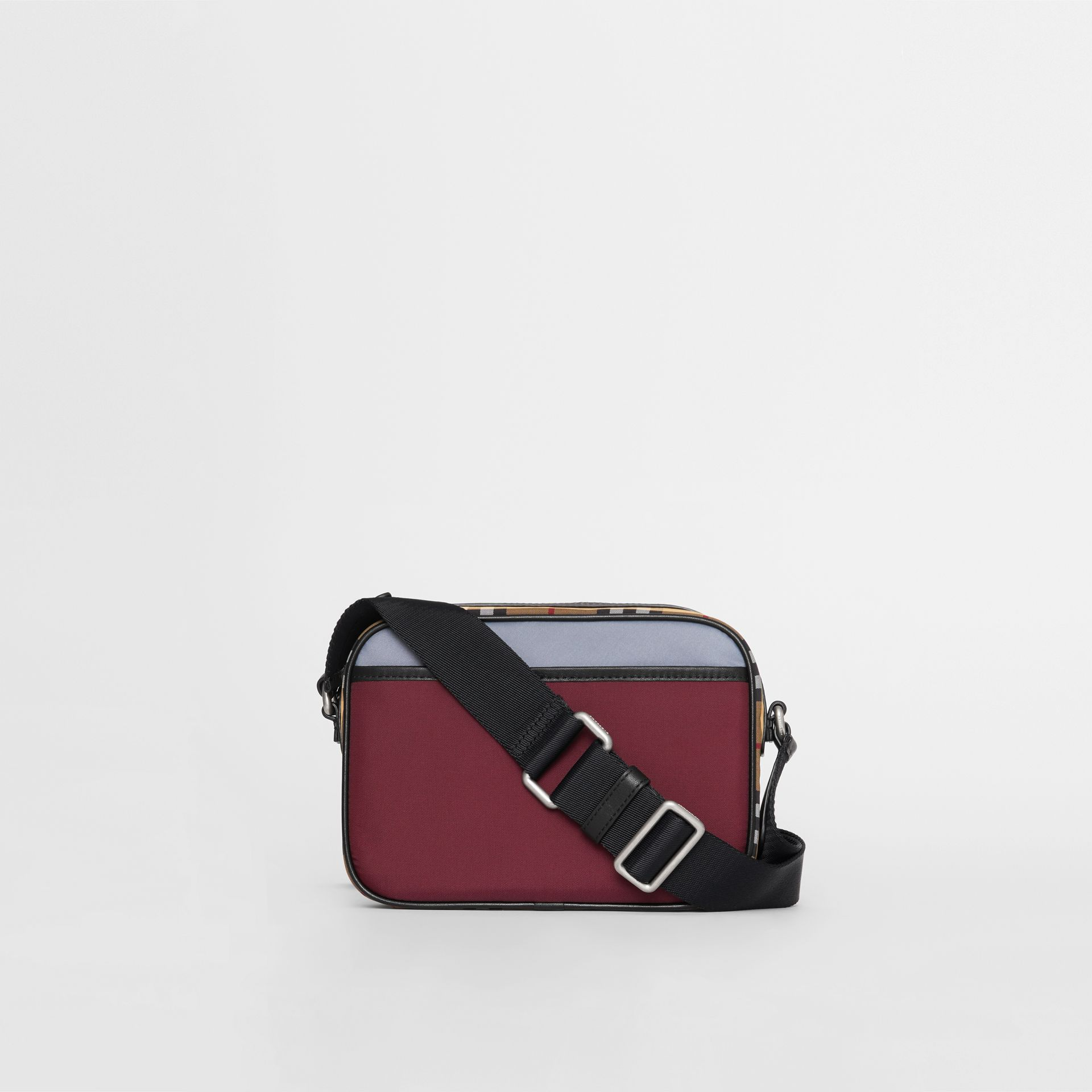 Colour Block Vintage Check Crossbody Bag in Oxblood - Men | Burberry Australia - gallery image 6