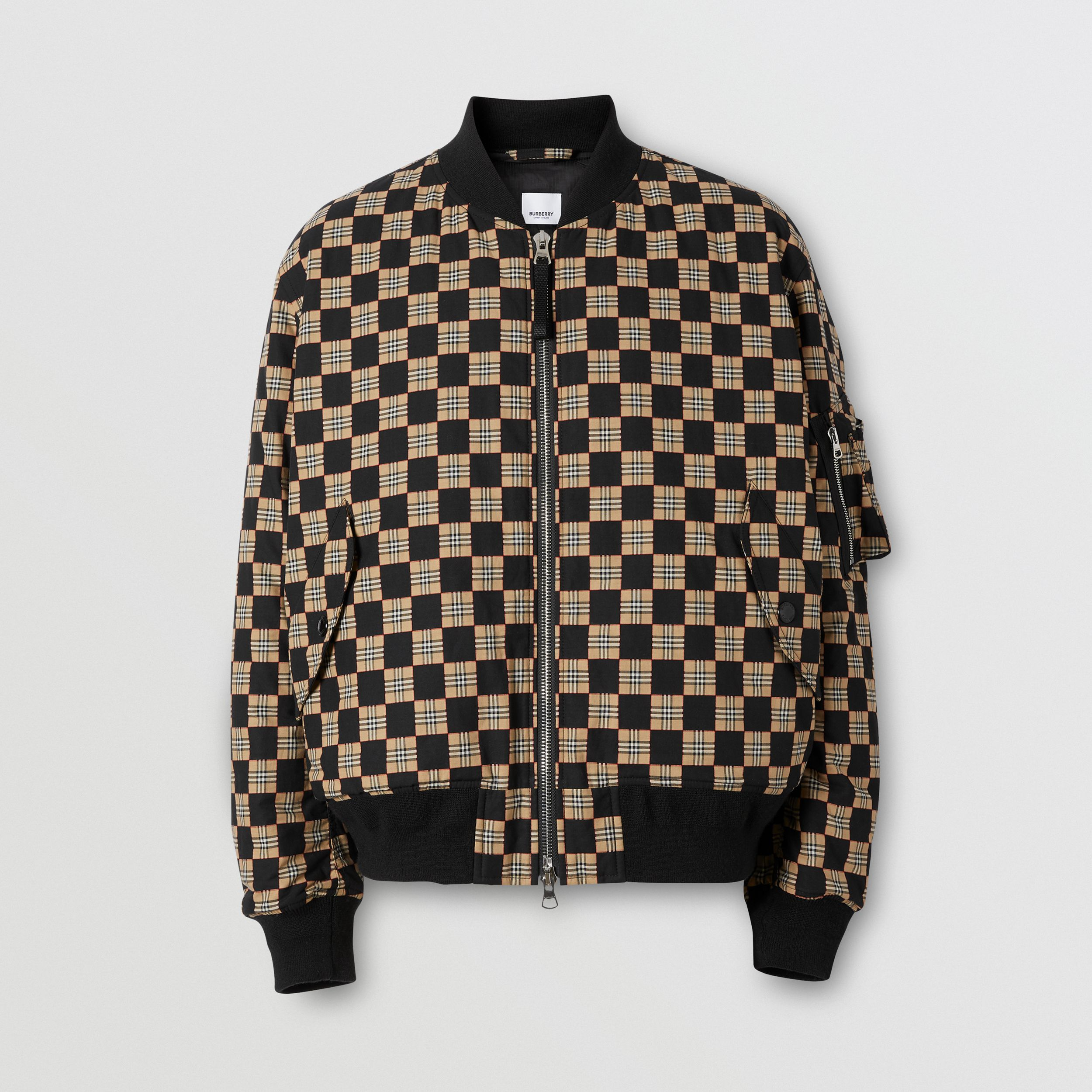 Chequer Cotton Bomber Jacket | Burberry - 1