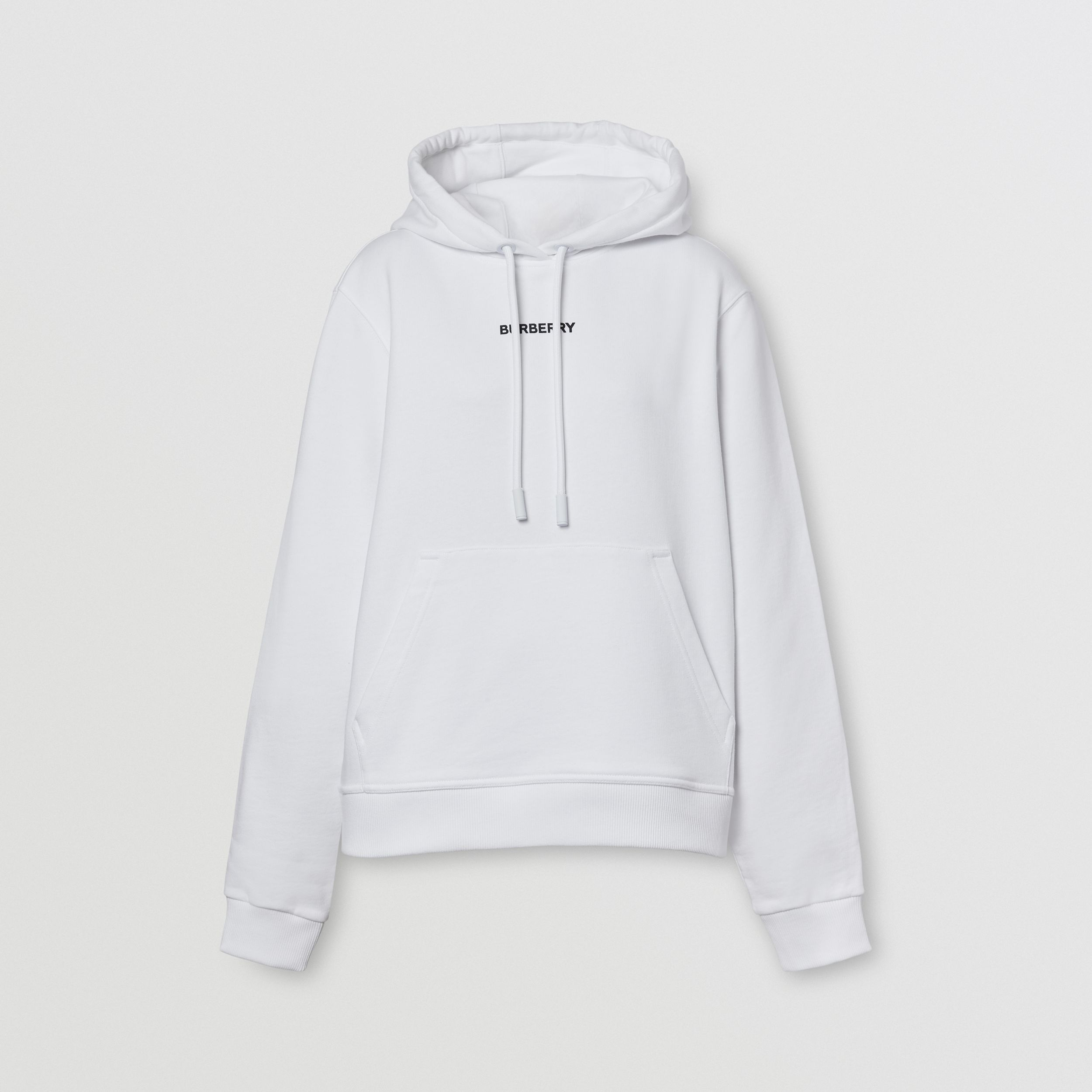 Meditation Print Cotton Oversized Hoodie in White - Women | Burberry - 4