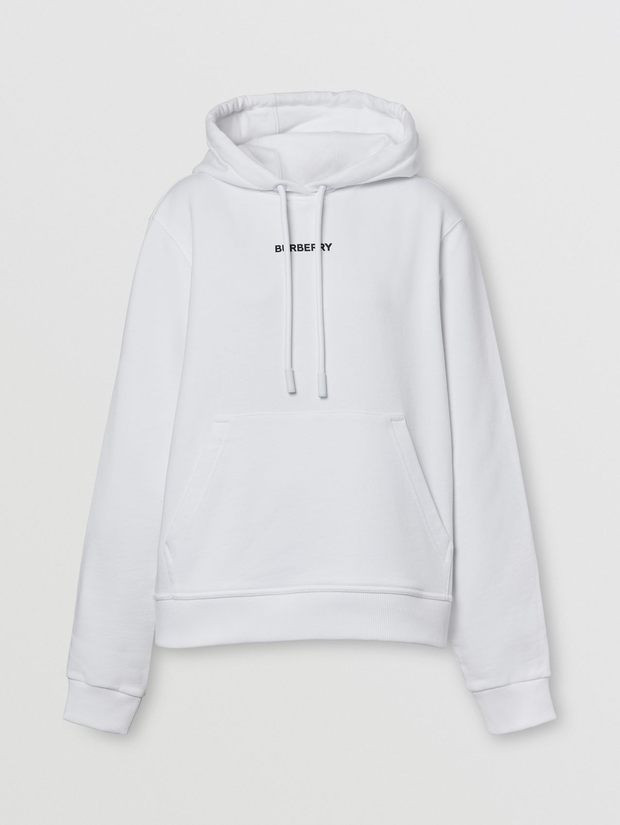 Meditation Print Cotton Oversized Hoodie in White