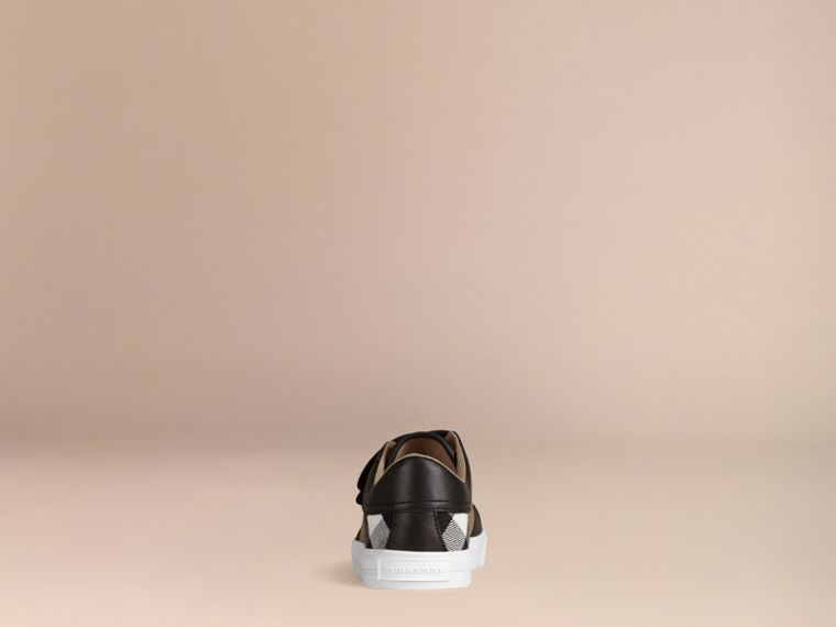 House Check and Leather Trainers in Black | Burberry Canada - cell image 2