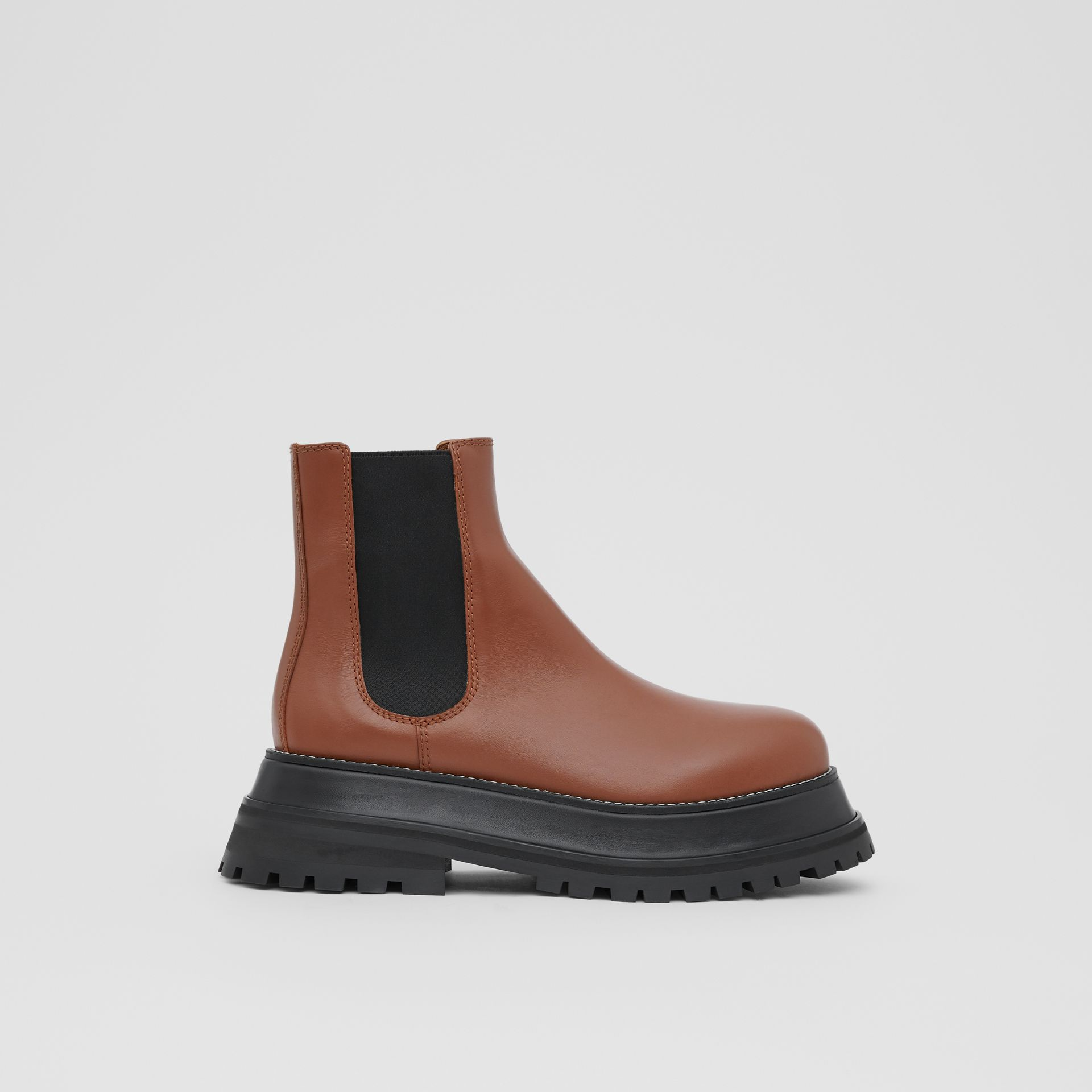Leather Chelsea Boots in Tan - Women | Burberry - gallery image 4