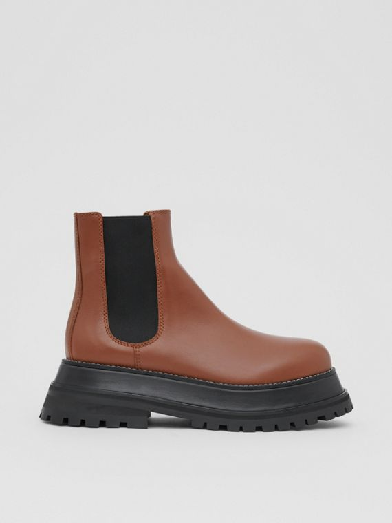 Leather Chelsea Boots in Tan