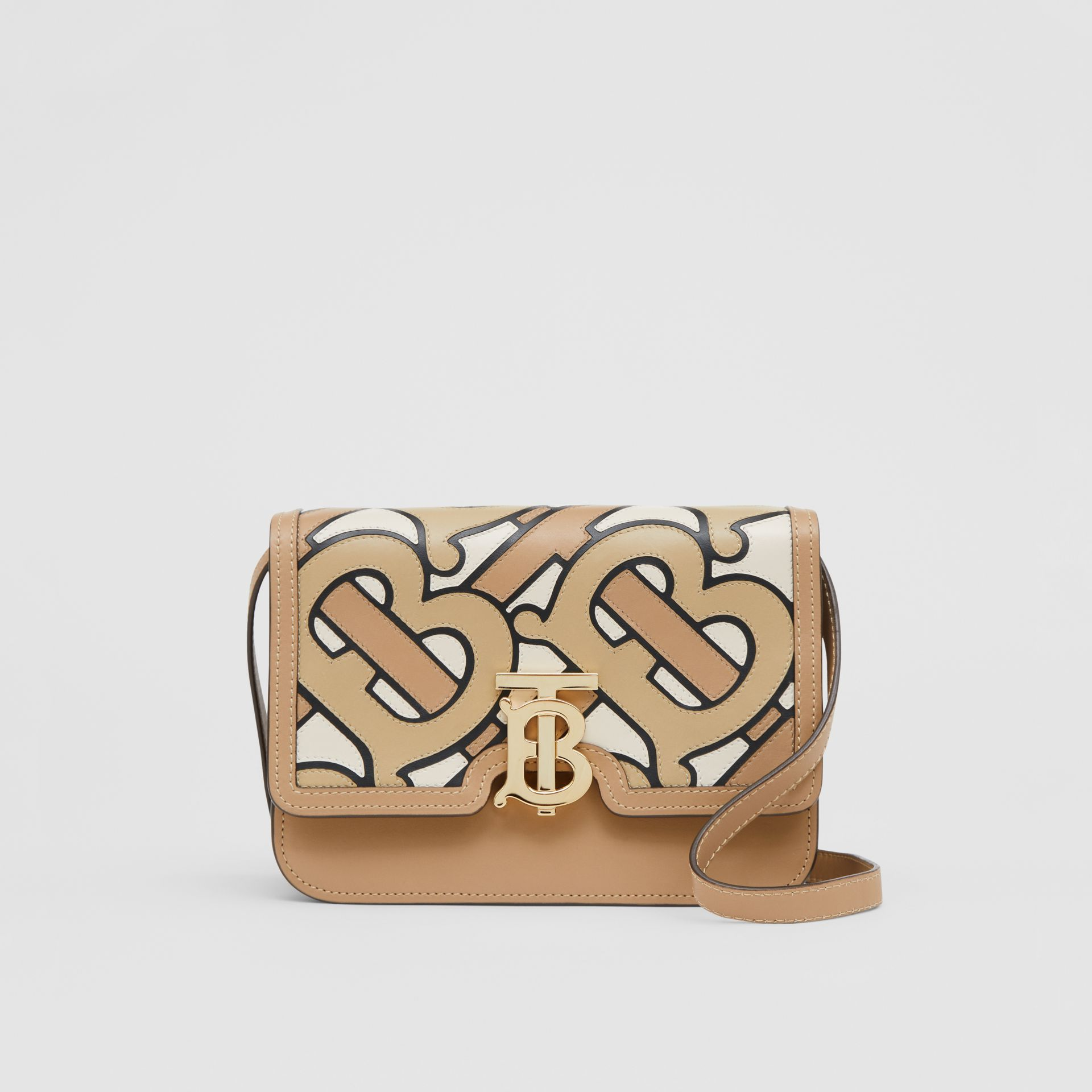 Small Monogram Intarsia Leather TB Bag in Beige - Women | Burberry United States - gallery image 0