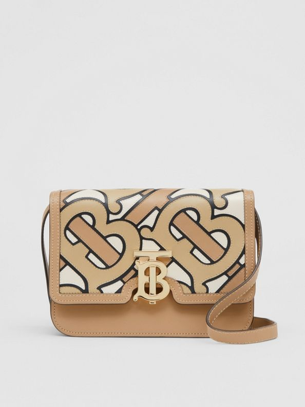Small Monogram Intarsia Leather TB Bag in Beige