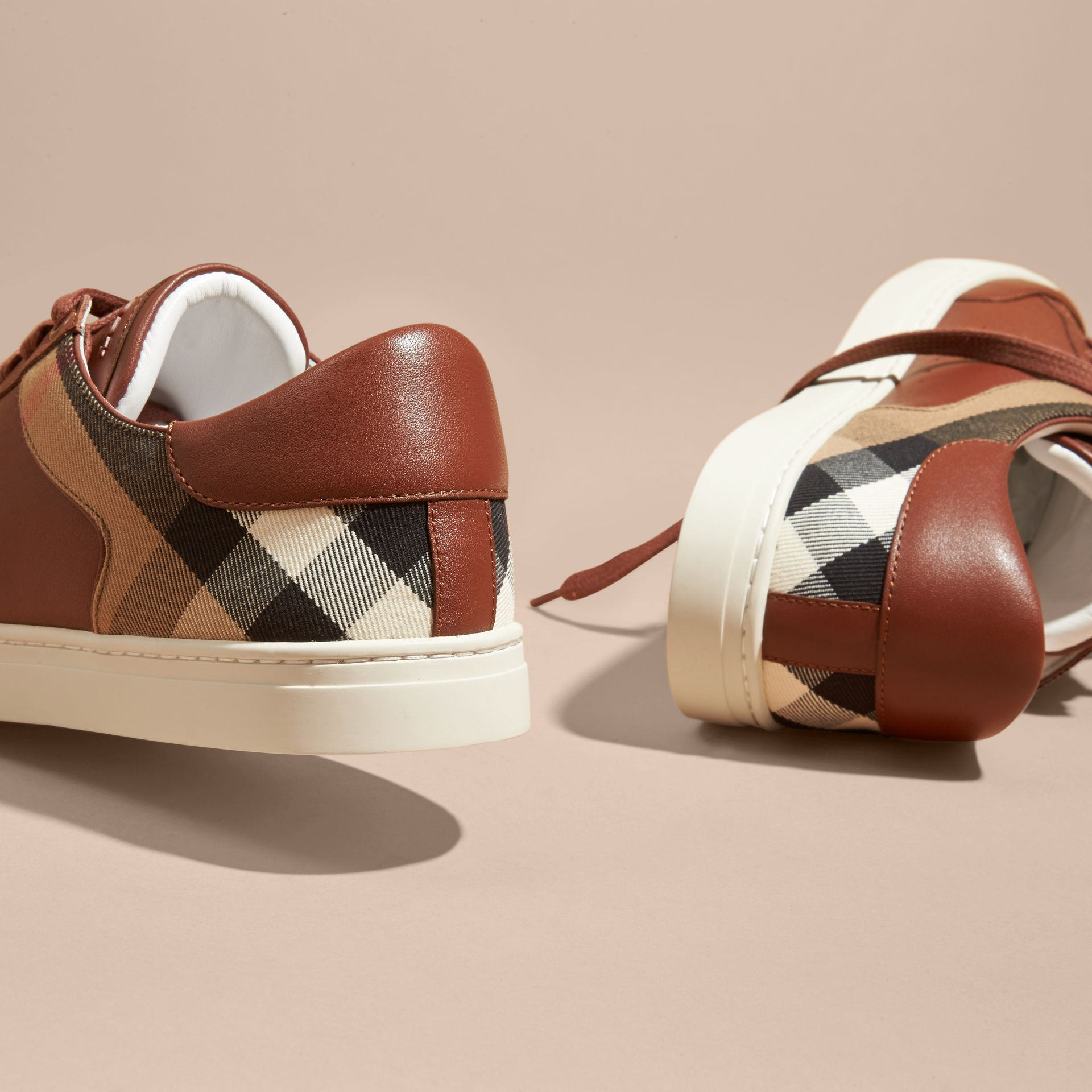 Leather and House Check Trainers in Check/bright Camel - gallery image 4