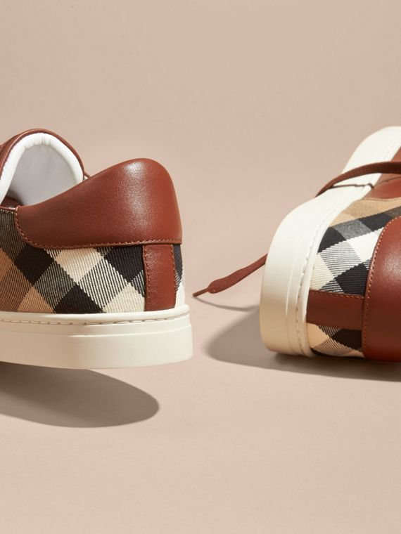 Leather and House Check Trainers in Check/bright Camel - cell image 3