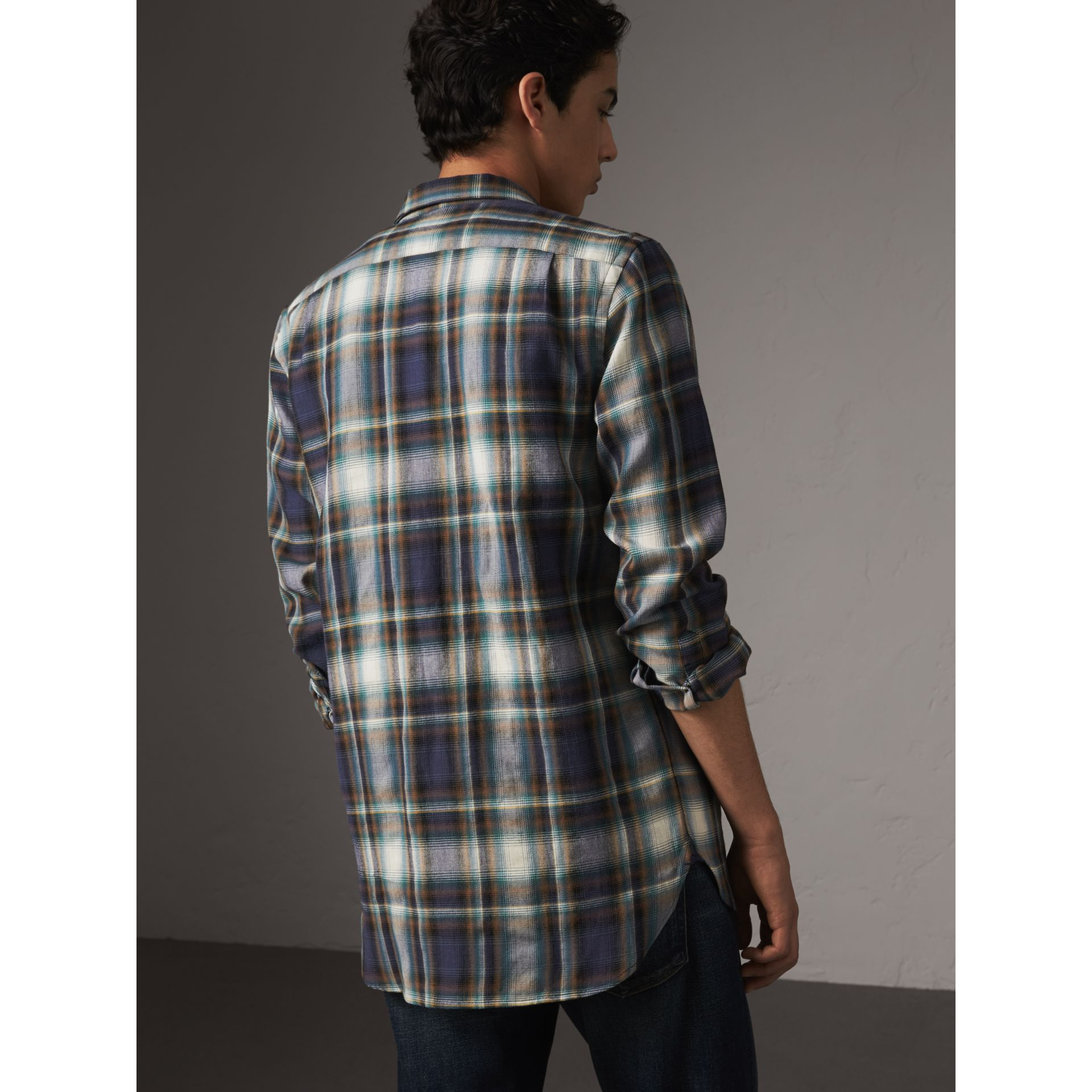Check Wool Linen Cotton Flannel Shirt in Ink Blue - Men | Burberry - gallery image 2