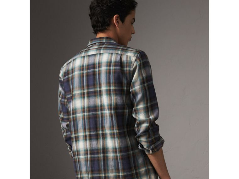 Check Wool Linen Cotton Flannel Shirt in Ink Blue - Men | Burberry - cell image 1