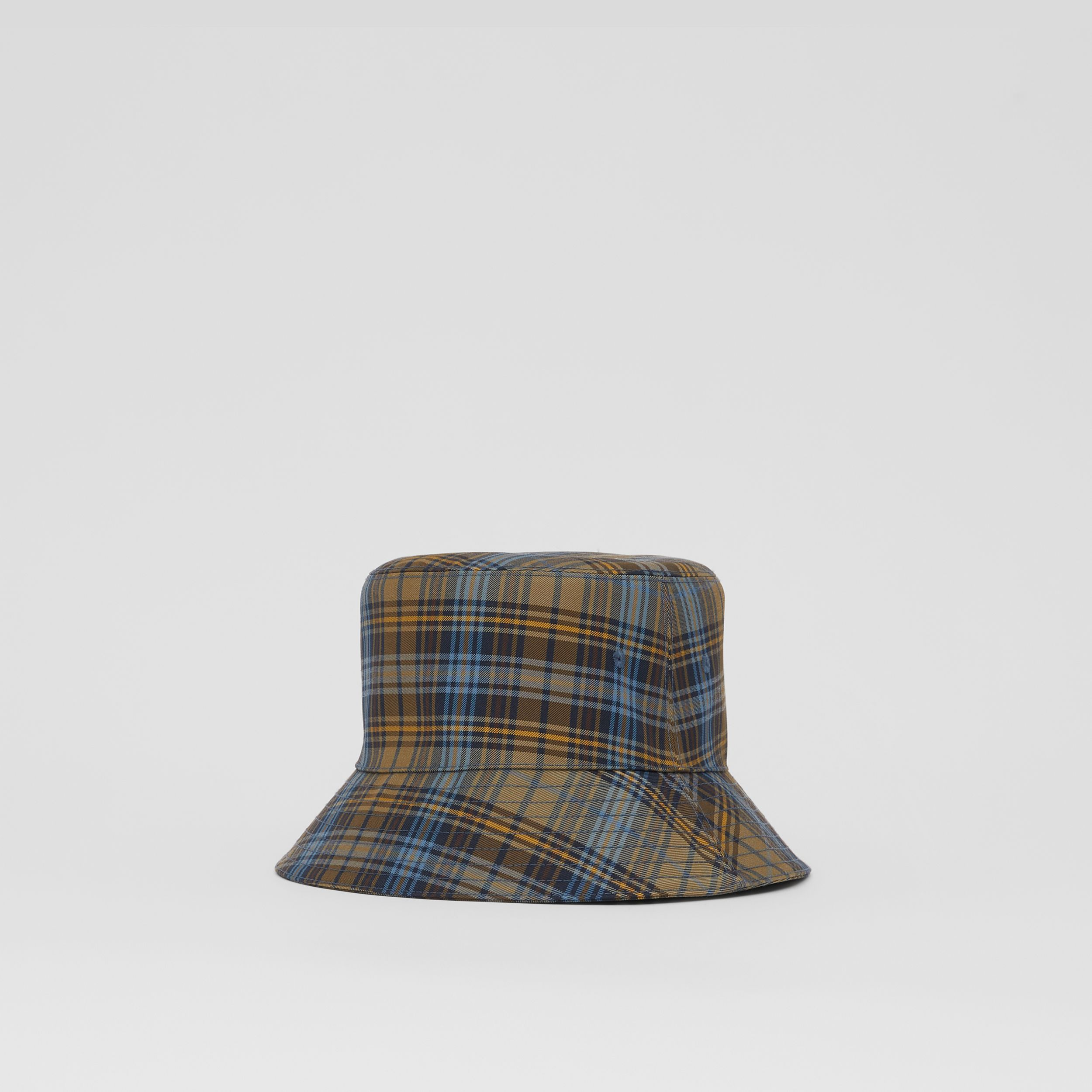 Tartan Technical Cotton Bucket Hat in Pale Powder Green | Burberry - 1