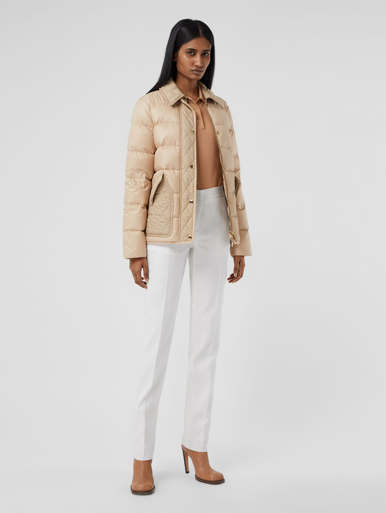 Diamond Quilted Panel Puffer Jacket in Soft Fawn
