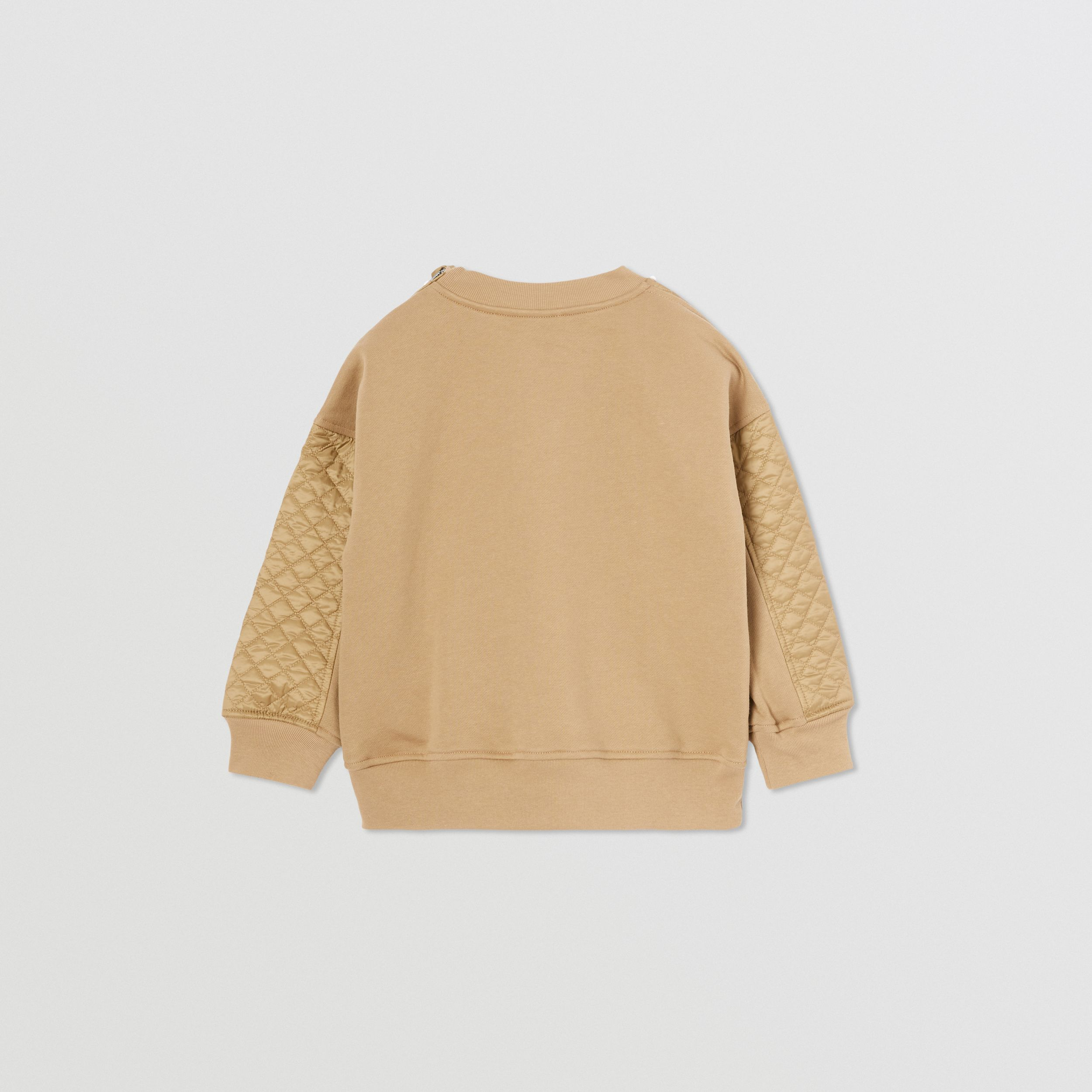 Monogram Quilted Panel Cotton Sweatshirt in Honey | Burberry - 4