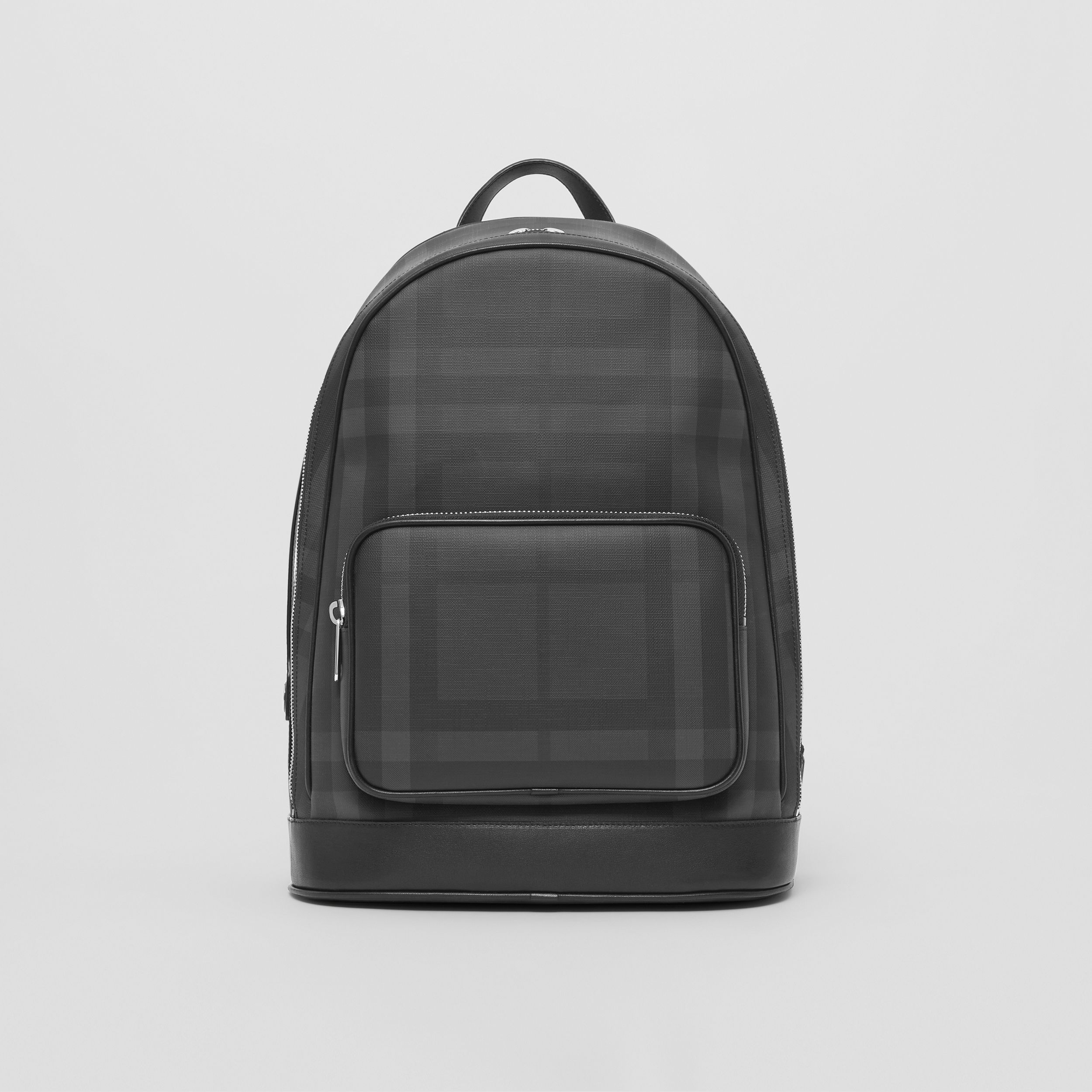 London Check and Leather Backpack in Dark Charcoal - Men | Burberry Australia - 1