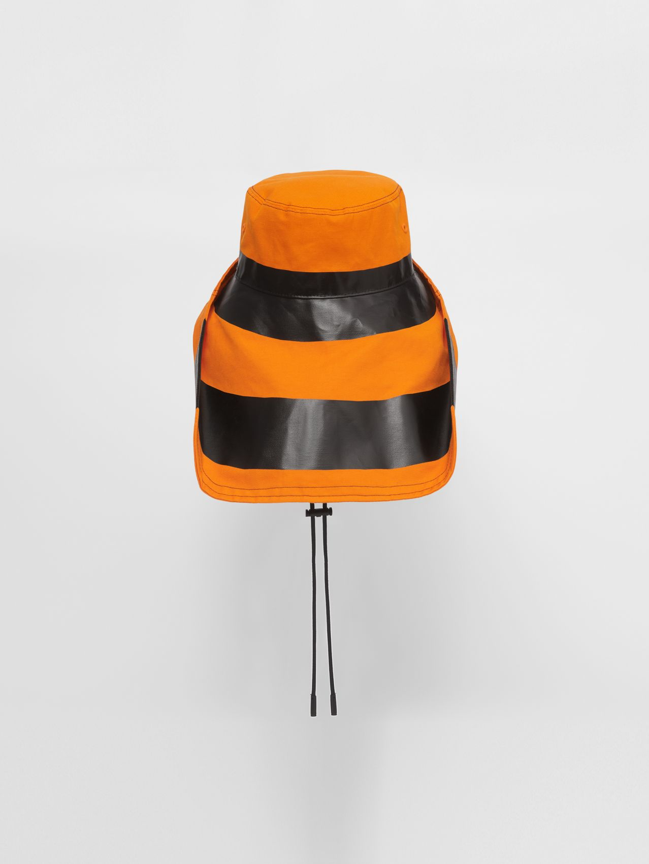 Striped Cotton Linen Fisherman Hat in Deep Orange/black