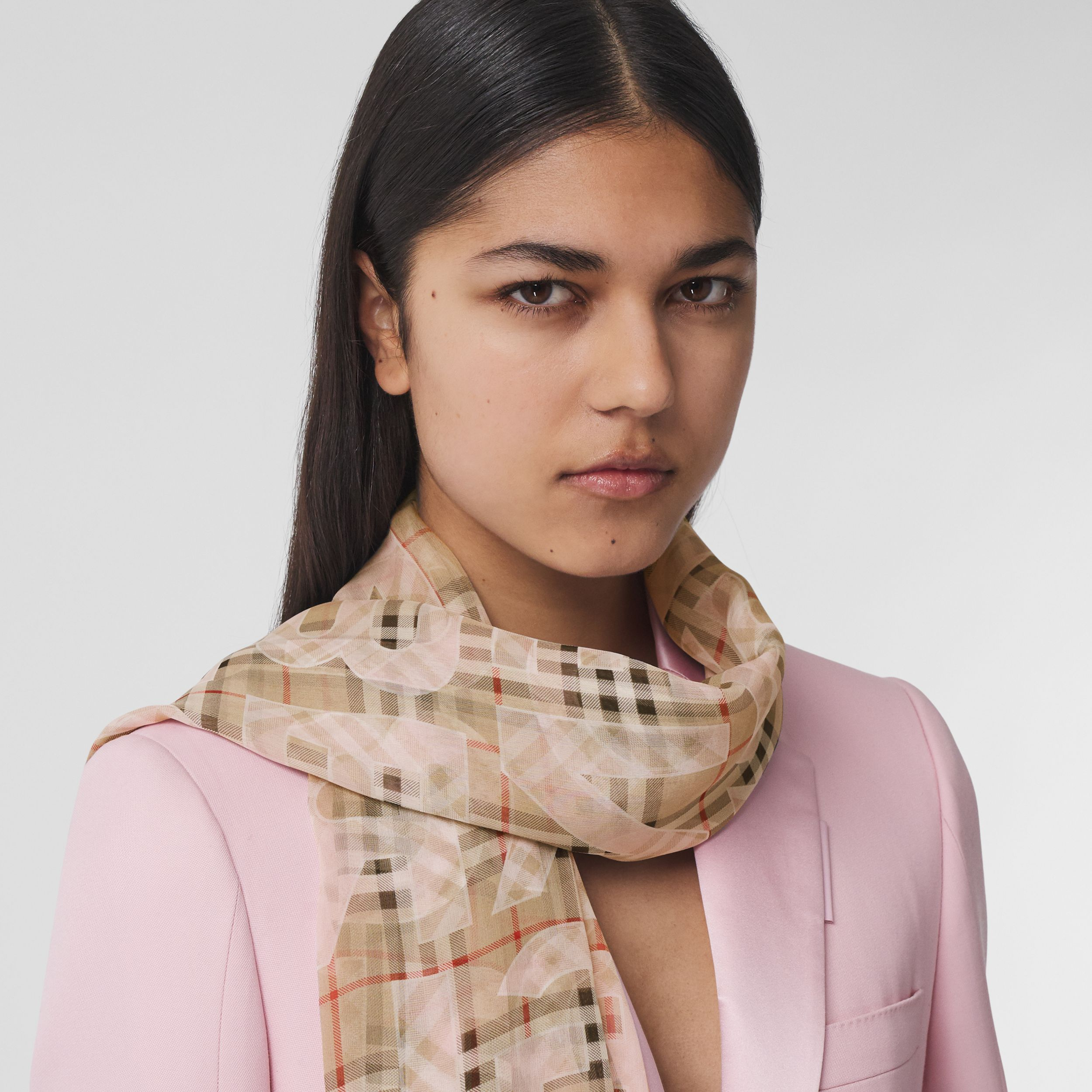 Vintage Check Logo Print Silk Chiffon Scarf in Alabaster Pink | Burberry United Kingdom - 3