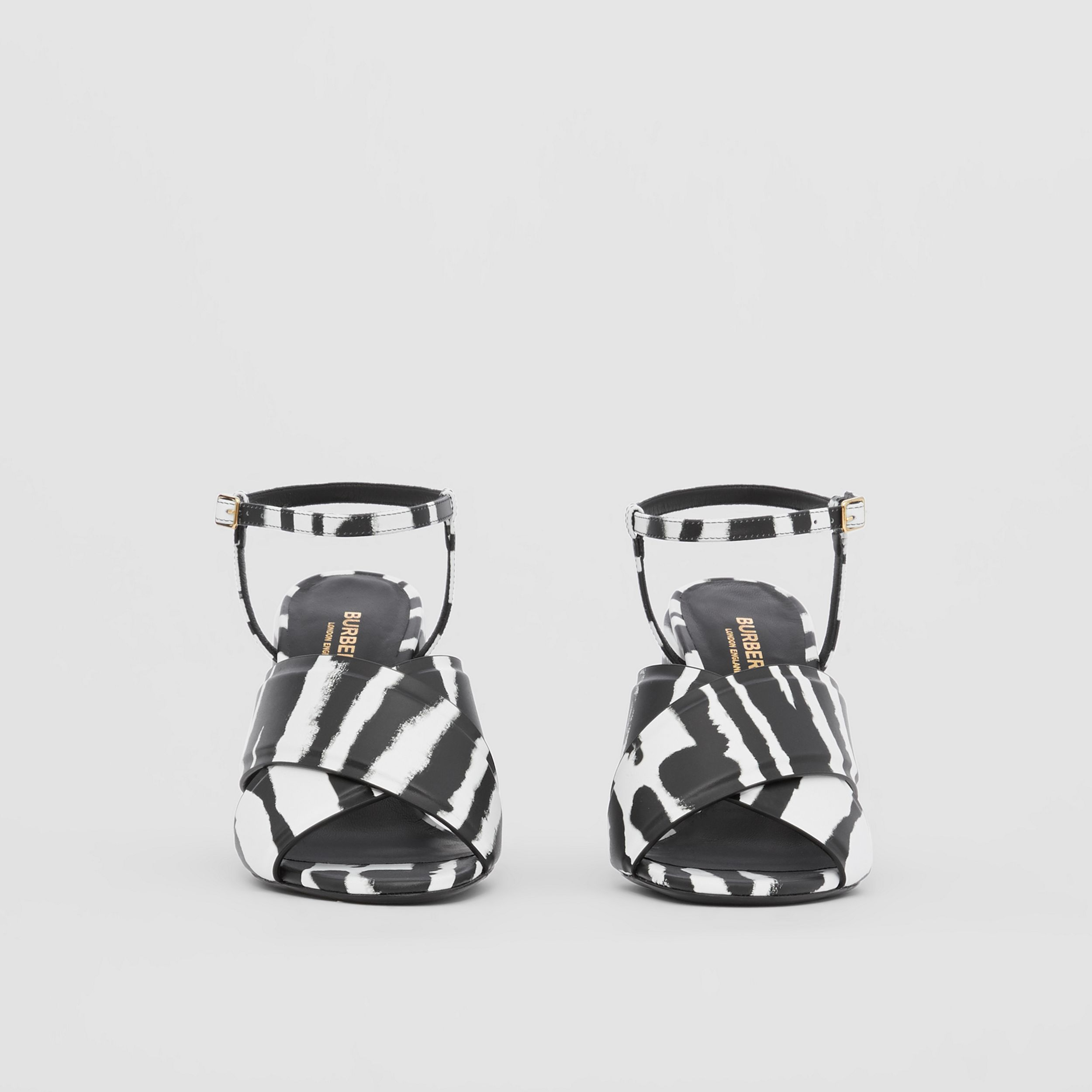 Watercolour Print Leather Block-heel Sandals in Black/white - Women | Burberry - 3