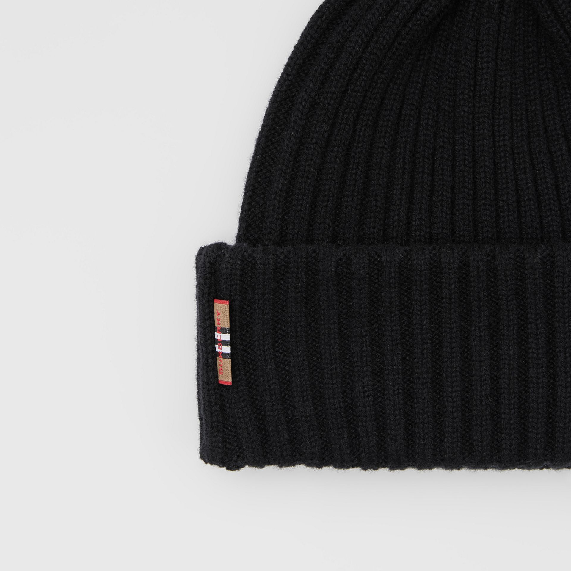 Icon Stripe Trim Rib Knit Cashmere Beanie in Black | Burberry - gallery image 1
