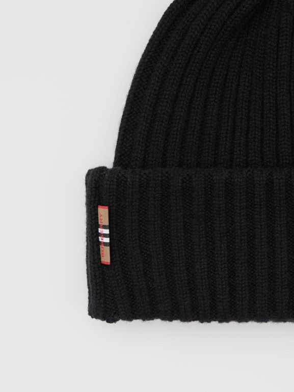 Icon Stripe Trim Rib Knit Cashmere Beanie in Black | Burberry - cell image 1