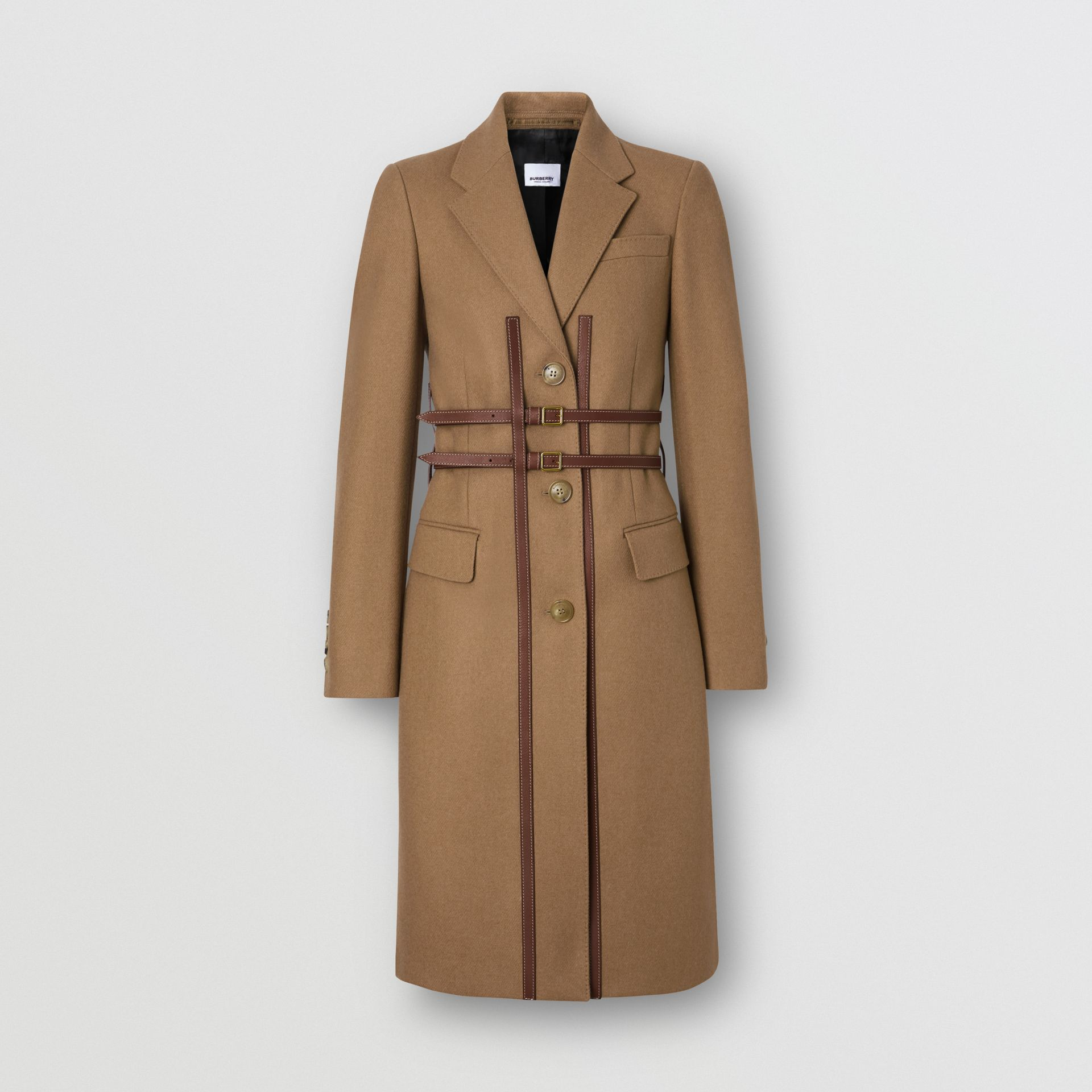 Leather Harness Detail Wool Tailored Coat in Camel - Women | Burberry Hong Kong S.A.R - gallery image 3