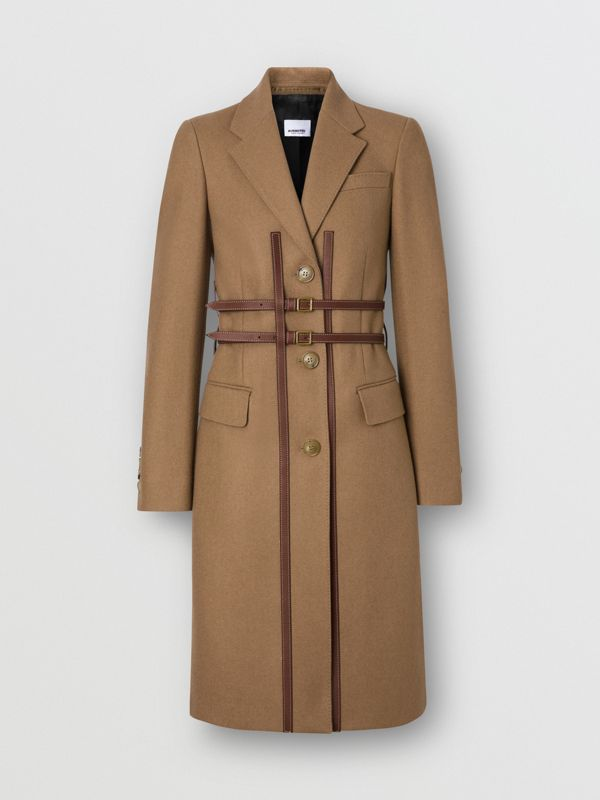 Leather Harness Detail Wool Tailored Coat in Camel - Women | Burberry - cell image 2