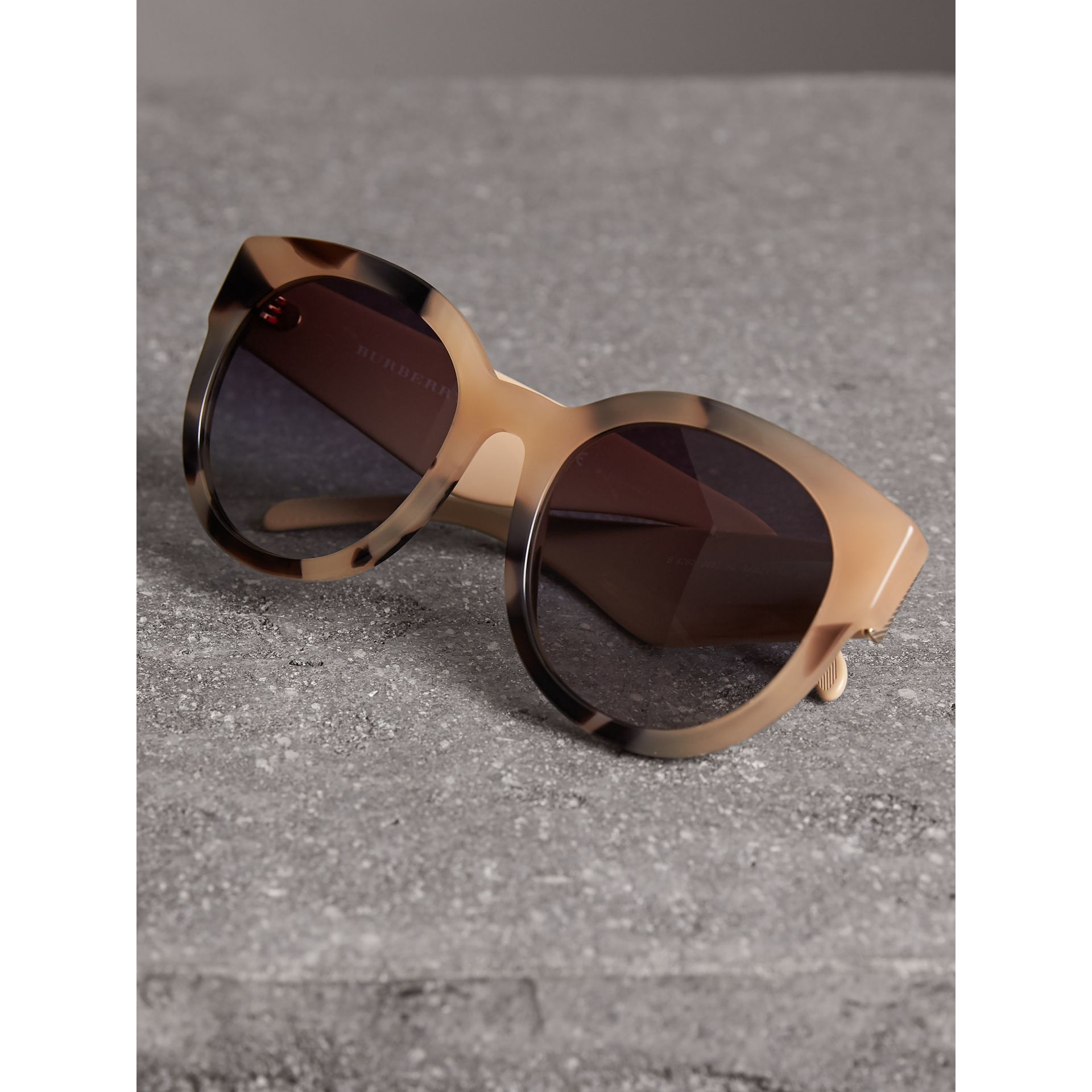 Round Frame Sunglasses in Honey - Women | Burberry - gallery image 3