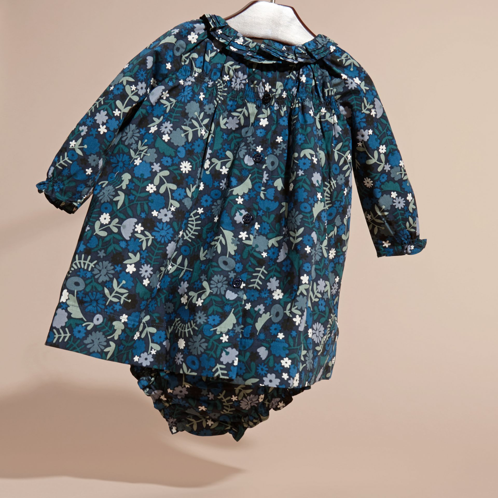 Hydrangea blue Floral Print Cotton Dress and Bloomers Hydrangea Blue - gallery image 4