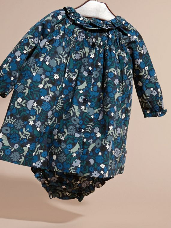 Hydrangea blue Floral Print Cotton Dress and Bloomers Hydrangea Blue - cell image 3