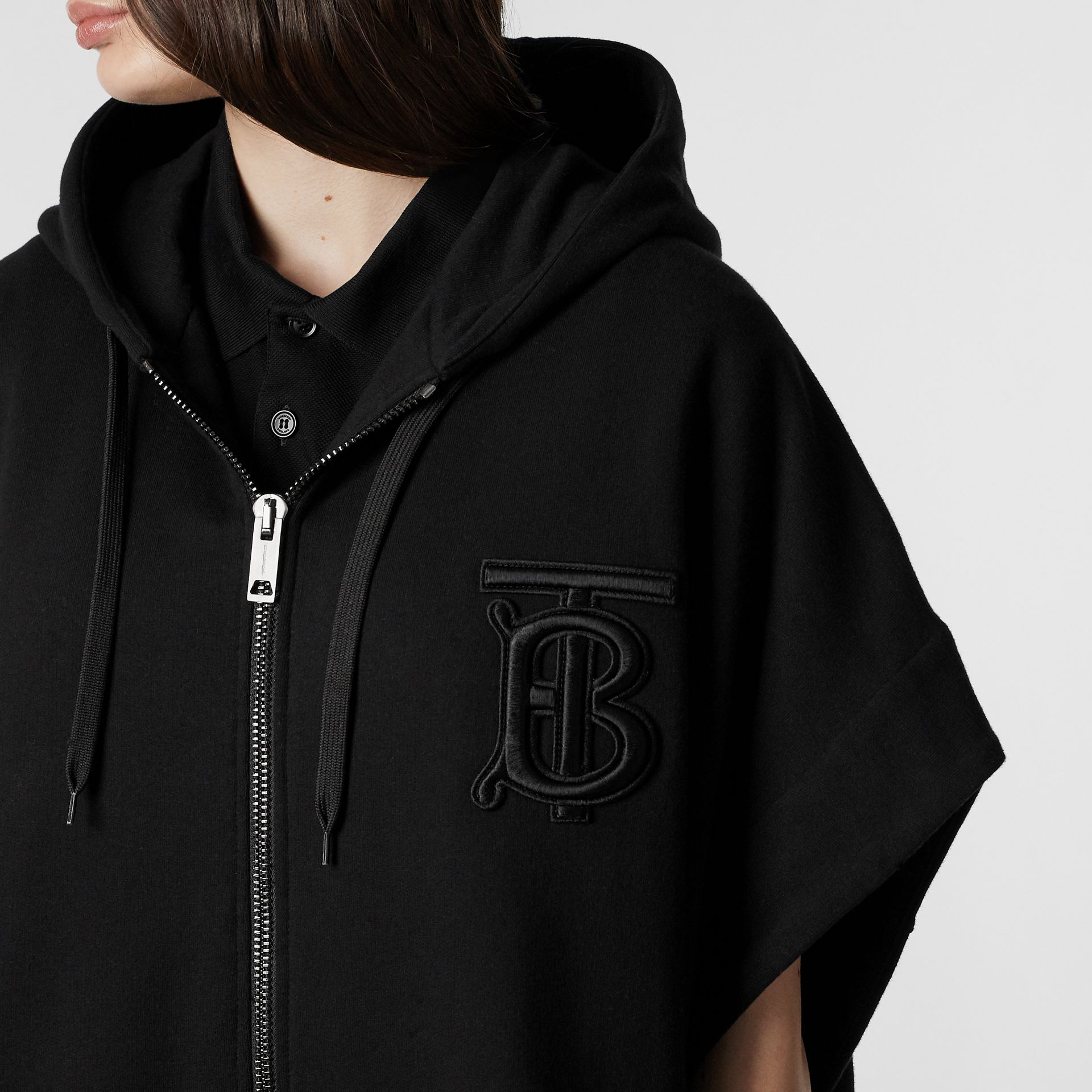Monogram Motif Cotton Oversized Hooded Poncho in Black | Burberry United States - gallery image 1