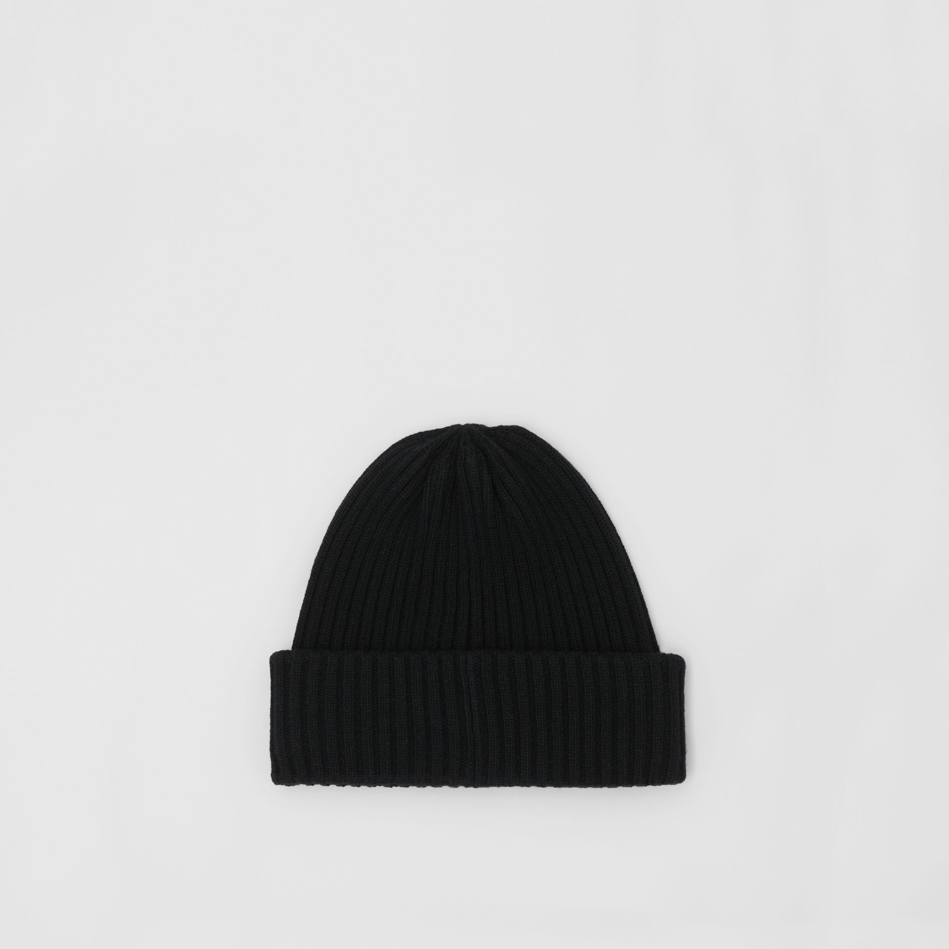 Rib Knit Wool Beanie in Black | Burberry - gallery image 0