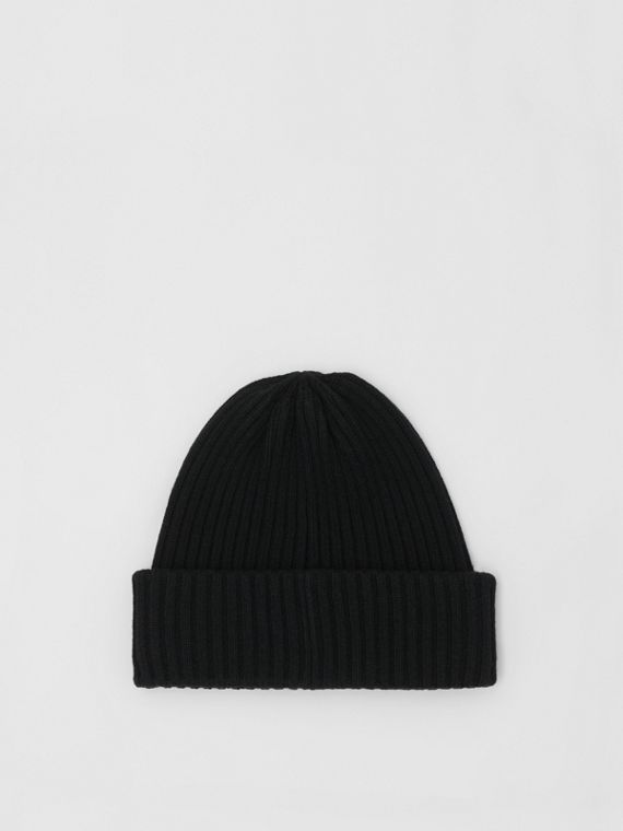 Rib Knit Wool Beanie in Black