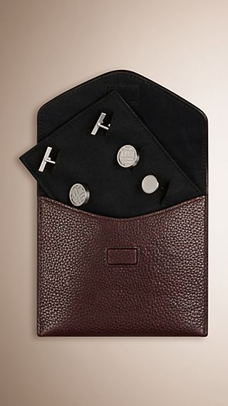 Grainy Leather Cufflink Case