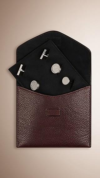 Grainy Leather Cufflink Case