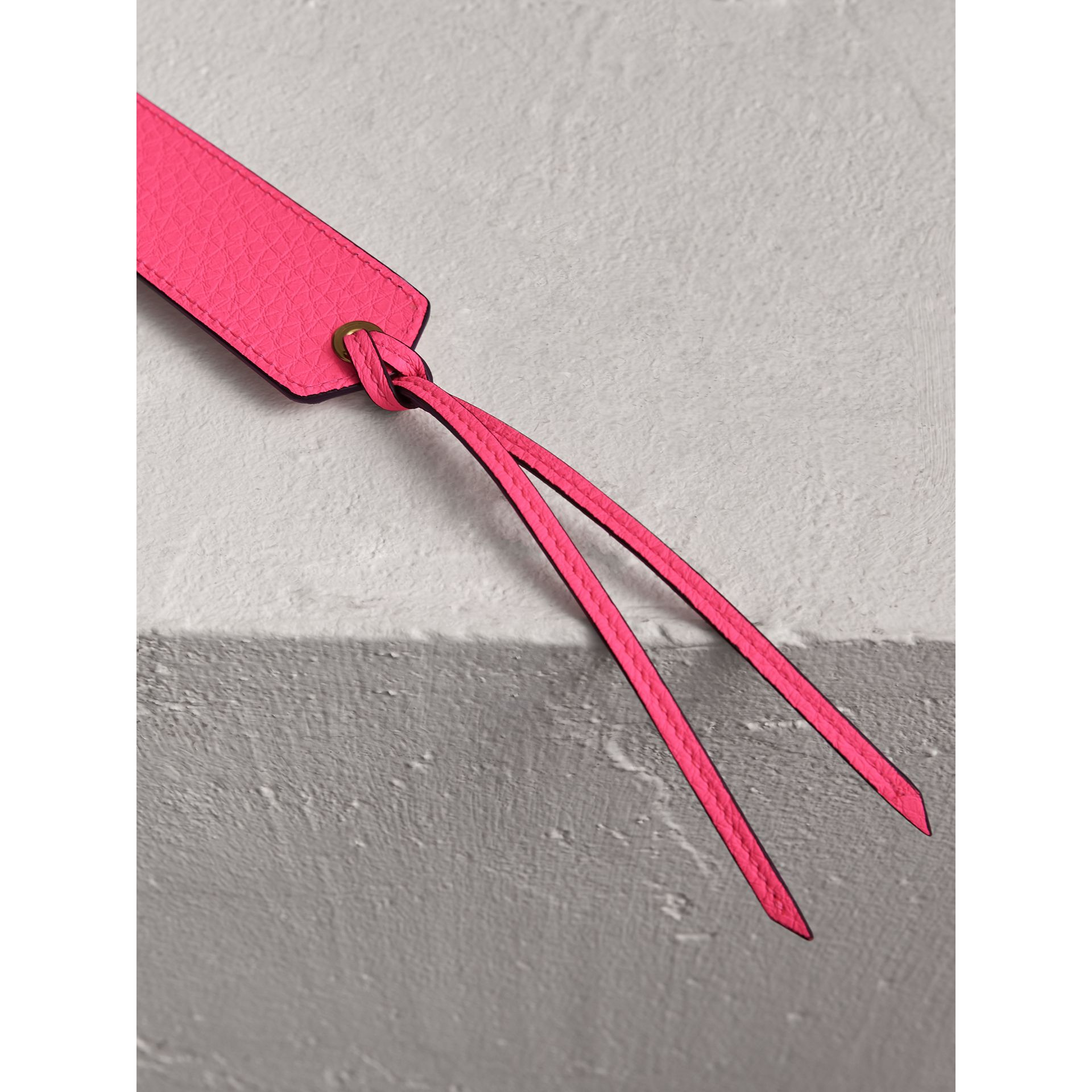 Embossed Leather Bookmark in Bright Pink | Burberry - gallery image 2