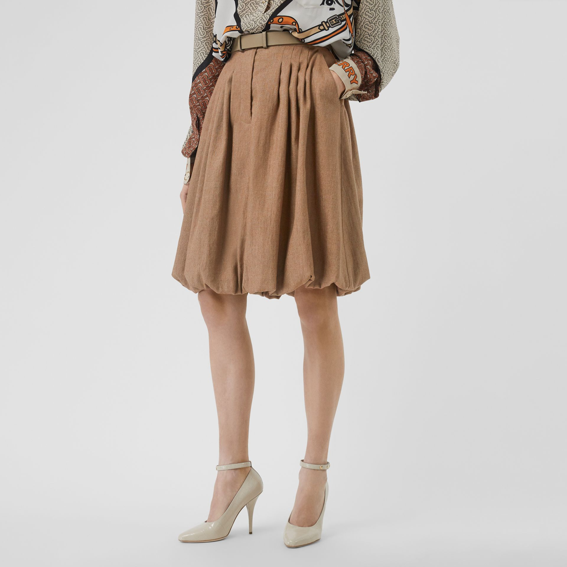 Linen Blend Bubble Hem Skirt in Driftwood - Women | Burberry Australia - gallery image 4