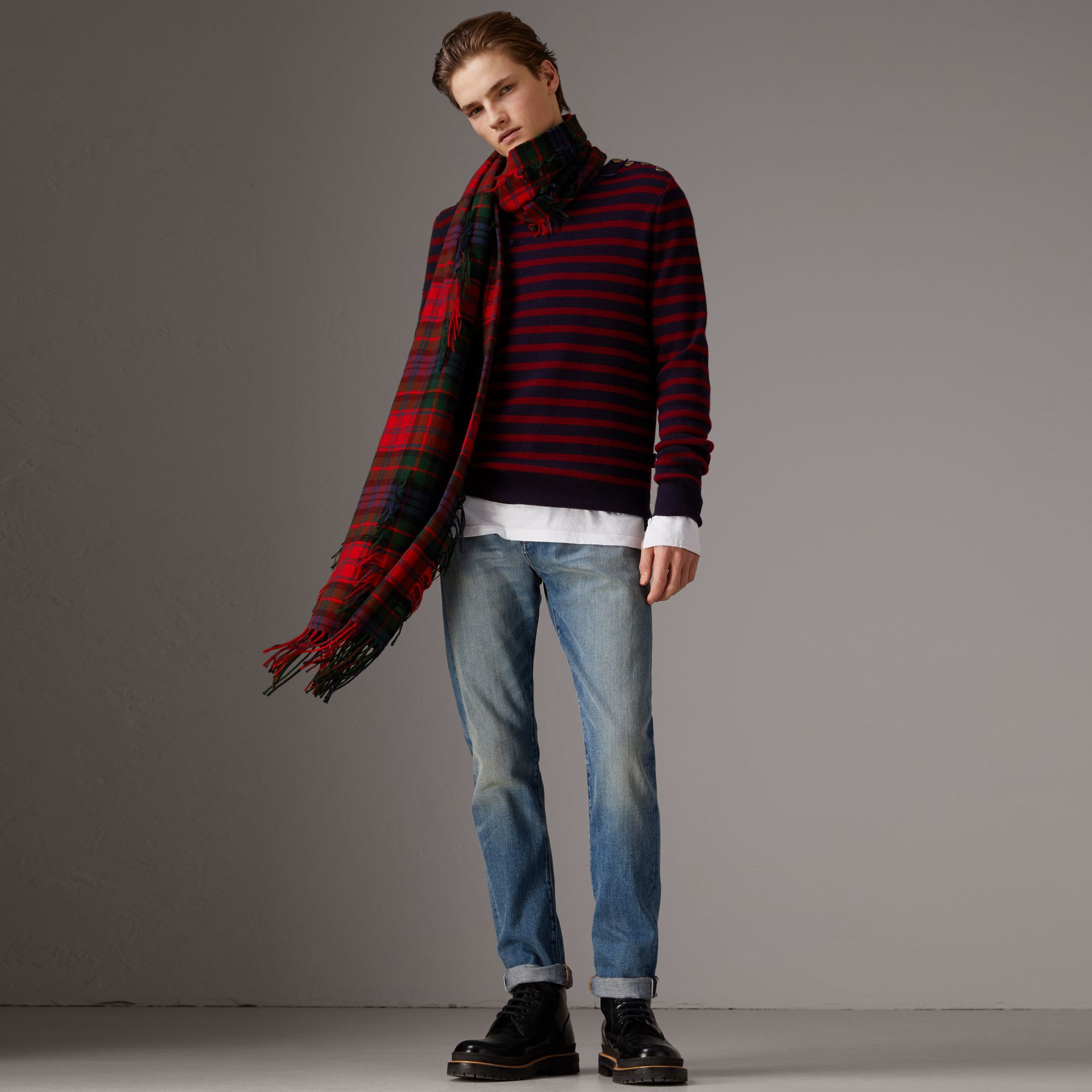 Bird Button Breton Stripe Wool Cashmere Sweater in Navy/deep Claret - Men | Burberry - gallery image 1