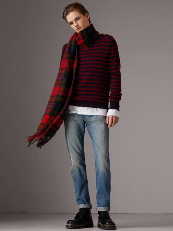 Bird Button Breton Stripe Wool Cashmere Sweater in Navy/deep Claret